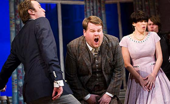 "Comedian James Corden and the cast of ""One Man, Two Guvnors"""