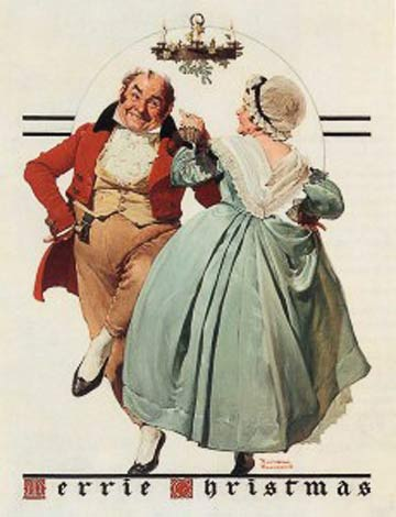 Norman Rockwell: Merrie Christmas: Couple Dancing Under Mistletoe @ The Norman Rockwell Museum