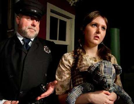 "Mark ""Monk"" Schane-Lydon as Officer Lockstock and Eleah Jayne Peal as Little Sally in the Ghent Playhouse production of ""Urinetown."" (Photo: Daniel Region)"