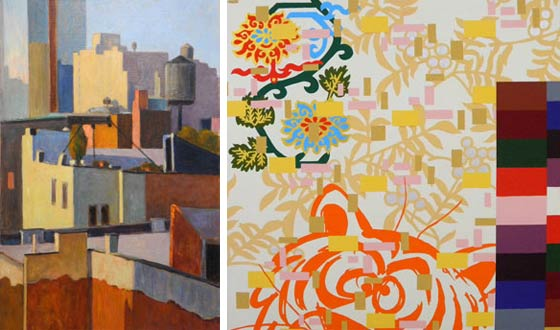 Paintings by Lucy Reitzfeld (left) and Robert Reitzfeld @ John Davis Gallery