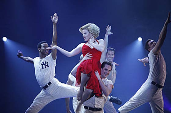 How can you have a musical about Marilyn Monroe without a salute to Joe DiMaggio.?