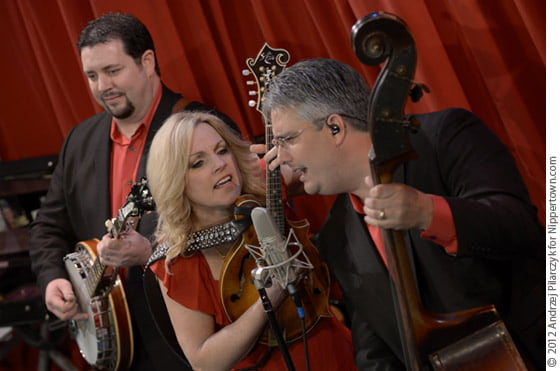 Aaron McDaris, Rhonda Vincent and Mickey Harris