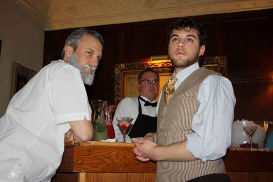 Greg Steinbruner and Jeremy Ohringer as Hemingway and Daniel Quinn at Floridita Bar