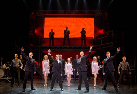 (l to r) Colby Foytik, Brad Weinstock, Jason Kappus, Brandon Andrus and the Company of Jersey Boys. (photo: Joan Marcus)