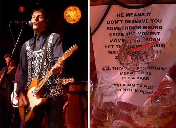 Tommy Stinson in a soon-to-be-auctioned bottle cap vest and a vodka soaked setlist