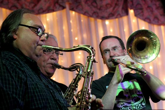 Tom D'Ambrose, Bill Rella and Jeff Roberts performing with Blotto