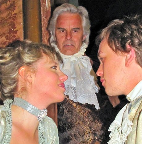 (l to r) Constanze, Salieri, and Mozart (Betsy Holt, John Hadden, Miles Mandwelle)