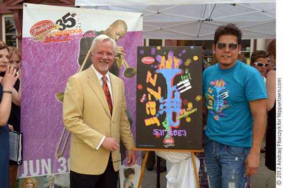 Mayor Scott Johnson and artist Frankie Flores