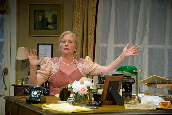 "Tod Randolph as Dorothy Thompson in ""Cassandra Speaks"" at Shakespeare & Company. (photo: Kevin Sprague)"