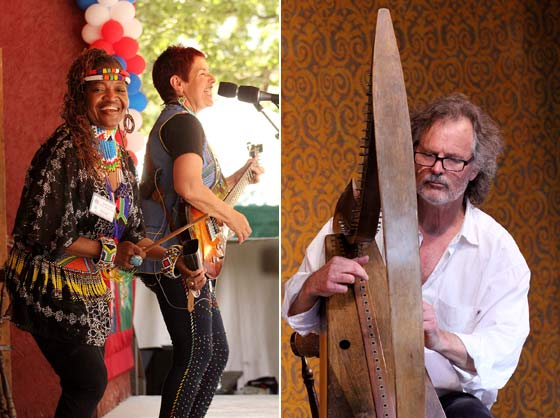 (left) Sharon Katz & The Peace Train (right) Patrick Bell on Celtic Harp