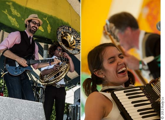 (left) Tao Rodriguez Seeger with Ben Jaffe of Preservation Hall Jazz Band and (right) Ginny Mac of Brave Combo