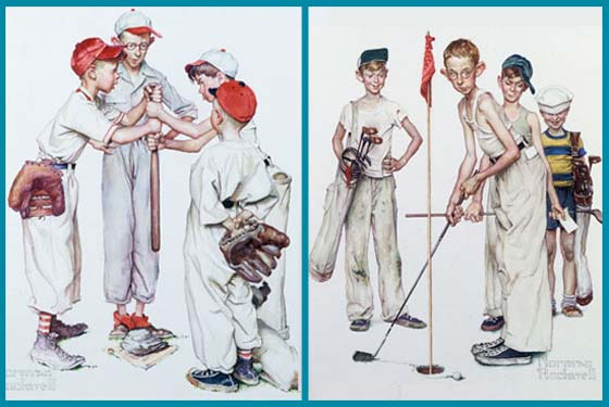 Four Sporting Boys: Baseball and Four Sporting Boys: Golf @ The Norman Rockwell Museum
