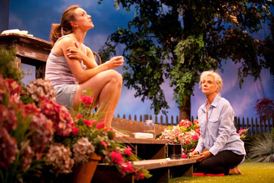 Heather Lind as Lila (l) and Blythe Danner as Grace (r) have a mother daughter talk in The Blue Deep by Lucy Boyle at the Williamstown Theatre Festival June 27-July 8. (photo: T. Charles Erickson)