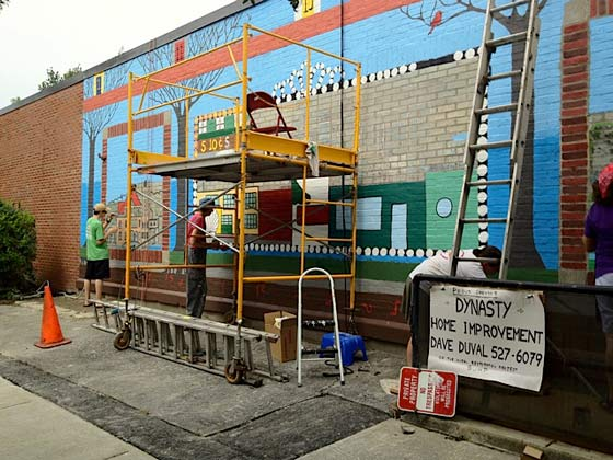 The Madison Avenue mural restoration (photo by Gene Sennes)