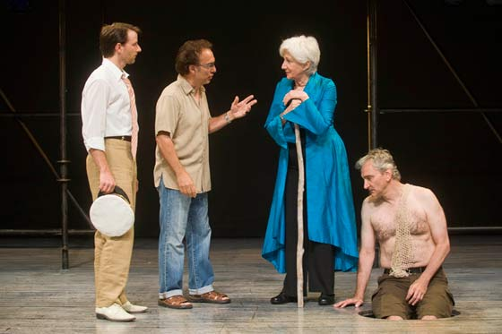 Tony Simotes (2nd from left) is at work directing the staging of The Tempest with Olympia Dukakis (2nd from right) and the company. (photo: Kevin Sprague)