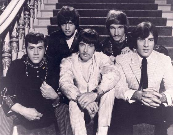 "A promotional photograph of The Sundowners from their television appearance on ""It Takes A Thief"" in 1968: (front, from left) bassist Bobby Dick, vocalist Eddie Brick and guitarist Dom DeMieri; (back) drummer Kim Capli and guitarist Ed Placidi"
