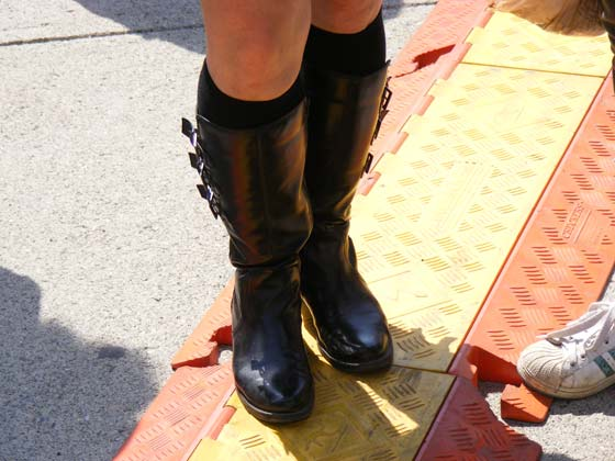 The motorcycle boots of MotherJudge at Troy's River Street Festival in June (photo by Matt Mac Haffie)