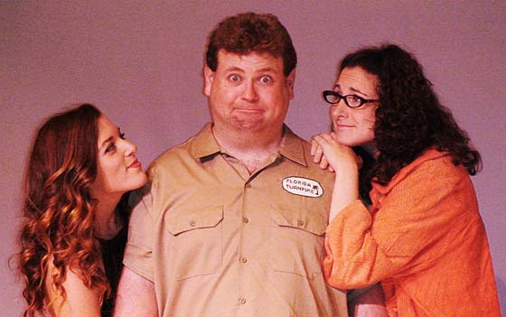 Review: The Great American Trailer Park Musical at The Theater Barn thru August 19th. with (l to r)  Mary Kate Morrissey, Shaun Rice and Katie Clark.