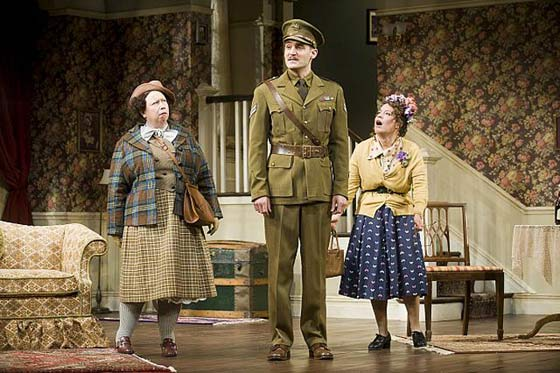 See How They Run at Barrington Stage, August 9-26, 2012. (l to r) Michele Tauber, Michael Brusasco and Dina Thomas (photo: Kevin Sprague)