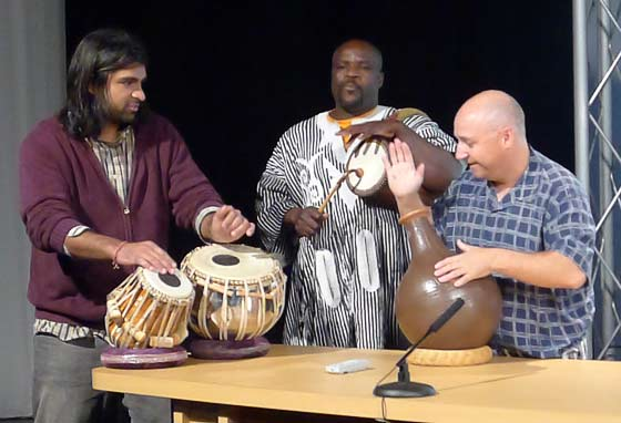 Drums Along The MoHu: (L-R) Devesh Chandra,  Zarkie Nelson and Brian Melick
