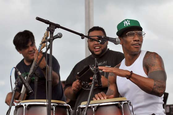 The Pedrito Martinez Band performing last week at the Albany Riverfront Jazz Fest (photo by Stanley Johnson)