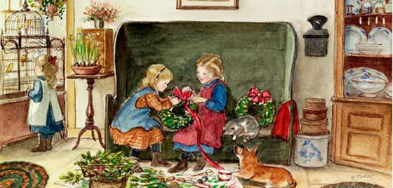 Tasha Tudor: Illustration for a Christmas card (detail) @ The Fenimore Art Gallery