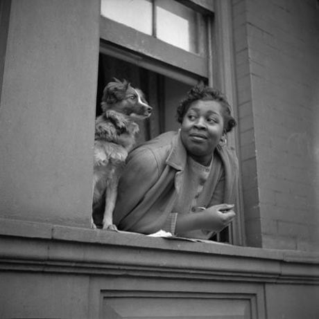 Gordon Parks: A woman and her dog in Harlem, NY, 1943 @ The NYS Museum
