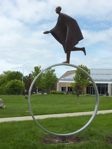 The sculpture is expected to be similar to this one. Carol Gold, Time, bronze, 156 x 84.
