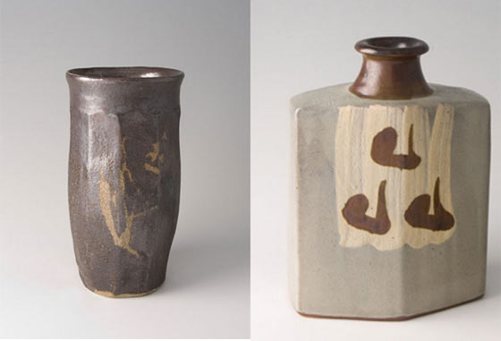 Works by Shoji Hamada (left) and Shinsaku Hamada  @ Harrison Gallery