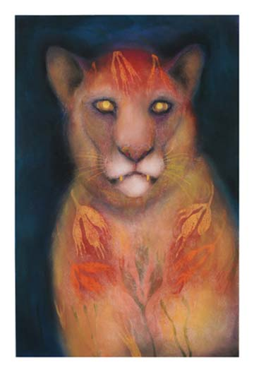 Jan Harrison, Big Cat - Mountain Lion With Foliage Fur @  Kleinert/James Center for the Arts