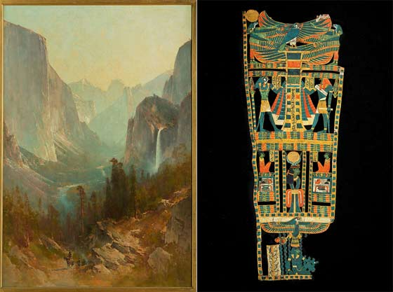 (left) Thomas Hill: Yosemite Valley and Egyptian cartonnage @ The Berkshire Museum
