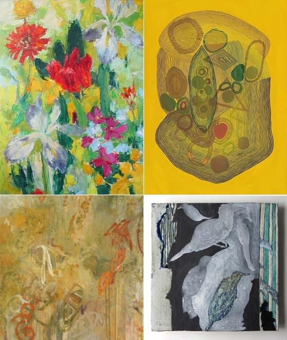 (clockwise from upper left) Dale Payson: Untitled Floral with Red Tulip, Jenny Kemp: Concentricity 3, Anne Francey: Of Birds and Geometry No. 3 and Kathy Burge: Strake @ Carrie Haddad Gallery