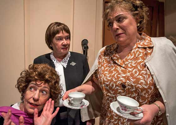(l to r) Johnna Murray, Joan Coombs and Nancy Hammell in Lettice and Lovage in Ghent, NY.