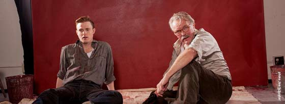 "David Kenner as Ken and Kevin McGuire as Mark Rothko in Capital Repertory Theatre's production of ""Red"""