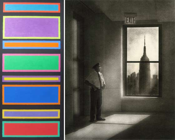 (left) Paul Schuchman: Color Panels, no. 7 and (right) Peter Liepke: Standing Guard @ Carrie Haddad Gallery