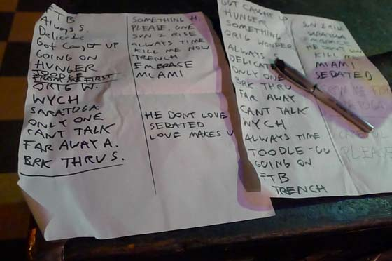 Pete Donnelly setlist