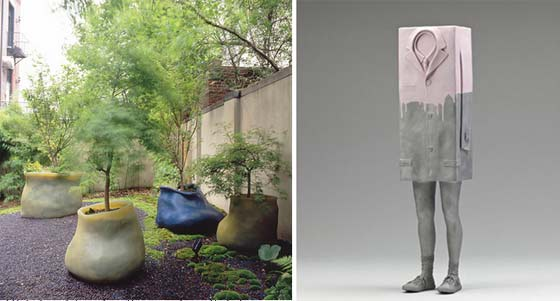 (left) Paula Hayes: Silicone Planters and (right) Erwin Wurm: Big Kastenmann @ Art Omi