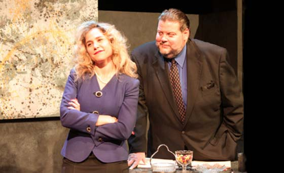 Jenny Strassburg and Paul Romero, in Other People's Money, at Oldcastle Theatre Company June 21-30. (photo: Eric Augenstein)