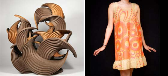 (left) Erik Demaine and Martin Demaine: Earthtone Series and (right) a paper dress @ The Berkshire Museum