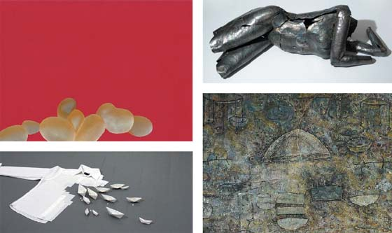 (Clockwise from top left) Anne Roecklin: Paper Lure; Adrian Landon: Metal Muse; Elizabeth Coyne: History Lesson and Derek Parker: Cut from the Same Cloth @ Salem Art Works