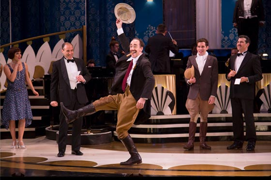 Pictured (L to R): Mara Davi (Arabella Rittenhouse), Jonathan Brody, Joey Slotnick (GROUCHO-Captain Spaulding), Adam Chanler-Berat (ZEPPO-Horatius Jamison) and Joey Sorge (Wally Winston). Photograph © T Charles Erickson