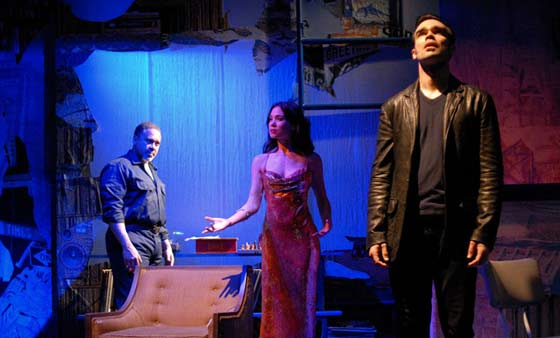 (l to r) Giuesseppe Jones (Ulysses), Natalie Mendoza (Josephina), and James Barry (Smith), photo by Rick Teller.