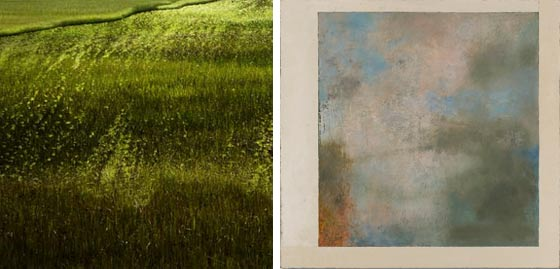 (left) Lependorf + Shire: Horizon Fields XVII and (right)  Leigh Palmer: Opening No. 25 @ Carrie Haddad Gallery