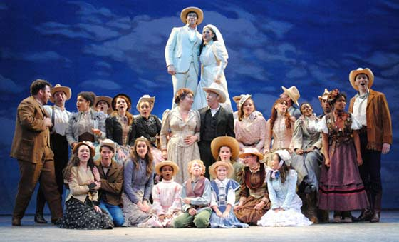 An existential wedding cake finale with the entire cast of Oklahoma! (photo: Abby LePage)