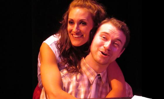 Caitlin Lester-Sams (Sonia) and Ryan Halsaver (Vernon) in They're Playing Our Song at the Theater Barn.