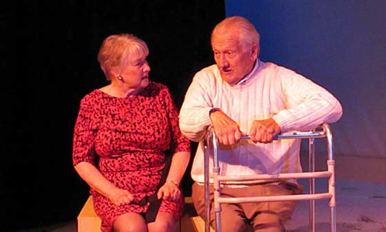 "(L to R) Joan Coombs and John Noble in ""Better Late"" at the Theater Barn."
