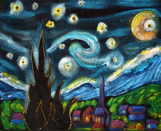 Rick Butto: Black Velvet Starry Night  from last year's Black Velvet Art Party in Lake George