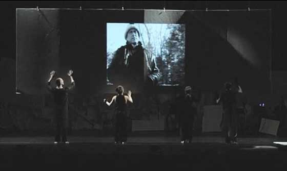 A screenshot from the Kickstarter video showing the performance underway.
