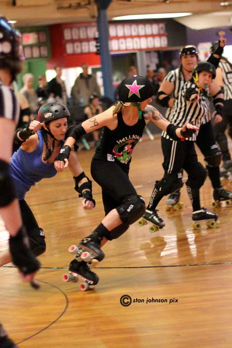 Hellion Bloody Knuckles Betty (109) jams on past the Jersey Shore defense