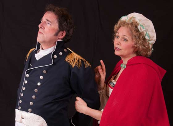 Philip Hart Helzzer as Captain Corcoran and Kathy Blaisdell as Mrs.Cripps (Buttercup)